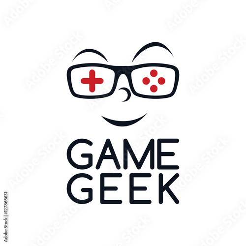 game geek gaming freak fan logo logotype theme cartoon face - Buy