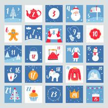 Christmas Advent Calendar. Countdown Poster. Winter Holidays Design Elements