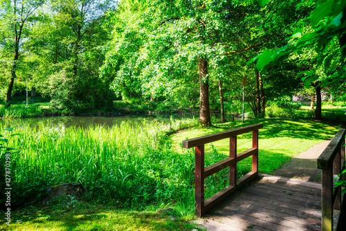 Foto op Plexiglas Groene Spring green park