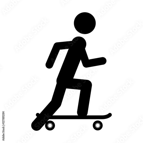 Pictogram practice skateboarding icon. Sport hobby people person and human theme. Isolated design. Vector illustration