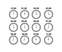 Circle Set Of Clocks For Every Hour Vector Icon