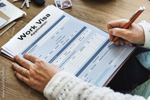 Fotografie, Tablou  Work Visa Application Employment Recruitment Concept