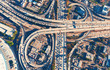 canvas print picture - Aerial view of a freeway intersection in Los Angeles