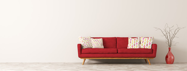 Modern interior of living room with red sofa 3d render