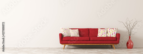 Modern interior of living room with red sofa 3d render Fototapet
