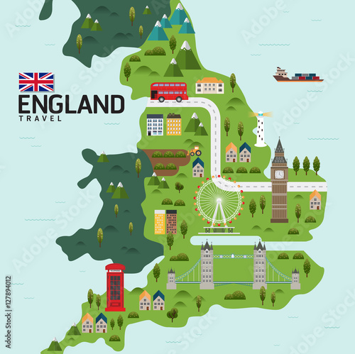 Map Of England Template.Vector Infographic Travel And Landmark Englandunited Kingdom Map