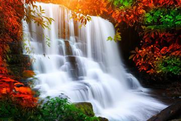 Fototapeta Wodospad beautiful waterfall in rain forest, Thailand