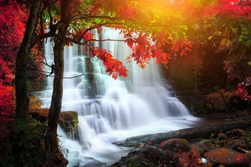 Panel Szklany Wodospad beautiful waterfall in rain forest, Thailand
