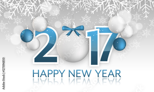 Happy New Year 2017 Banner Hanging Baubles With Bow Snow