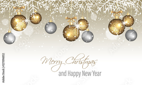 merry christmas and happy new year banner with snowflakes snow blurred circles golden