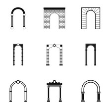 Arched Openings Icons Set. Simple Illustration Of 9 Arched Openings Vector Icons For Web