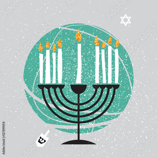 Photo Cute Happy Hanukkah Greeting card. Jewish holiday with menorah