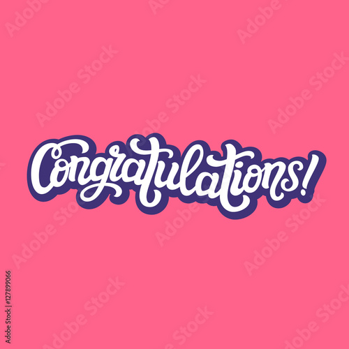 congratulations hand lettering typography template buy this stock