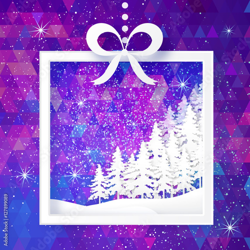 Spoed Foto op Canvas Violet White Origami Merry Christmas Greeting card with Paper Xmas Tree