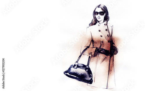Poster Portrait Aquarelle autumn style. fashion illustration . woman in coat. autumn look. watercolor painting.