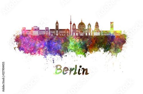 Berlin V2 skyline in watercolor Canvas Print