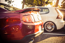 Sun Shines Over Red Ford Mustang