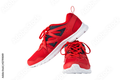 Fotografía  Red sport running shoes isolated on white background