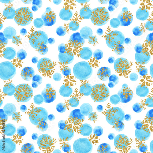 Cotton fabric Abstract watercolor winter background.