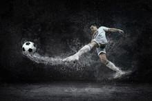Splash Of Drops Around Footbal...