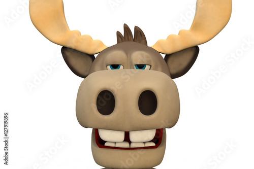 Fotobehang Boerderij Cute bored moose cartoon animal 3d illustration