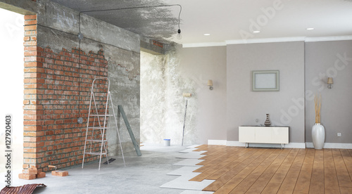 Fotografija  Renovation interior. 3D render