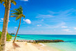 Beautiful tropical Maldives island, white sandy beach and sea w
