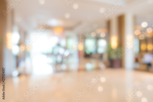 Fotografiet  Abstract blur interior hotel lobby background .
