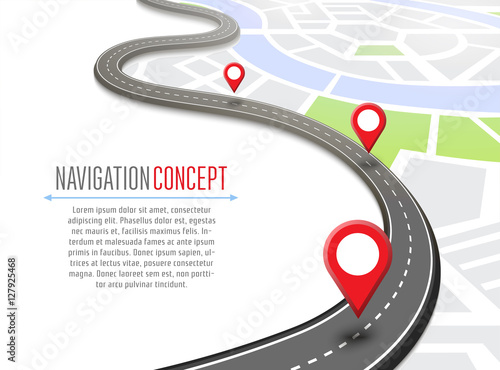 Leinwand Poster Navigation concept with pin pointer vector illustration