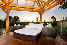 Bed In Outside Area Like A Patio Or Relaxing Place Of A Modern H