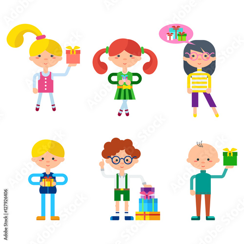 Mother Christmas Cartoon.Children Cartoon Characters With Gifts Cute Little Girls
