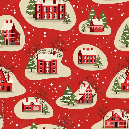 Stoffe zum Nähen Weihnachten und Happy New Year Musterdesign Vektor-Illustration zu heiraten. Häuser in Schneefall, ländlichen Winterlandschaft im Urlaub. Weihnachten Hintergrund mit roten Backsteinhäuser Weihnachten und Schnee bedeckten Baum