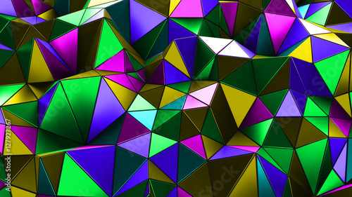 Fototapety, obrazy: Futuristic background with lines and abstract low-poly, polygonal triangular mosaic background for web, presentations and prints. Grunge surface. 3d Rendering. Realistic 3D design template.
