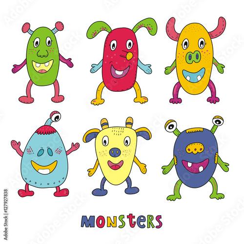 Deurstickers Cute monster set cartoon style. vector print