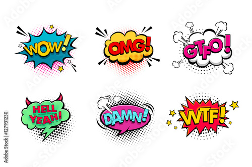Fotografia  Comic speech bubbles set with different emotions and text Wow, Omg, Gtfo, Hell Yeah, Damn, Wtf