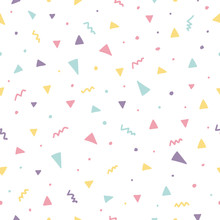 Memphis Seamless Pattern Design With Triangle Confetti