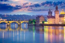 Prague Landmarks At Evening, Europe