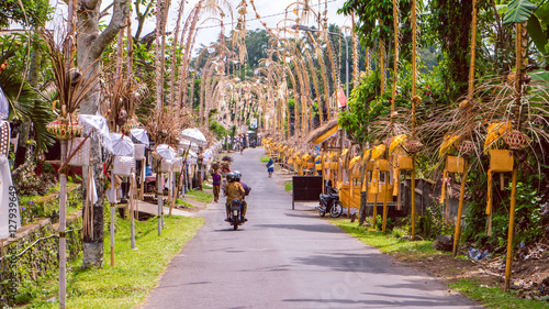 Foto op Aluminium Bali Bali Penjors, decorated bamboo poles along the village street in Sideman, Indonesia.