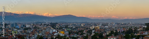 Kathmandu city and the Himalayas panorama