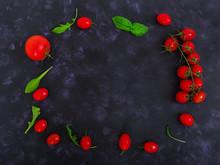 Fresh Ripe Cherry Tomatoes And...