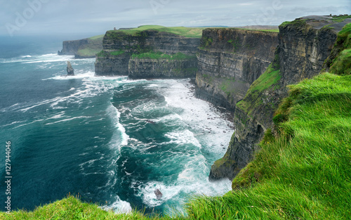 Spectacular view of famous Cliffs of Moher and wild Atlantic Ocean, County Clare, Ireland Wallpaper Mural