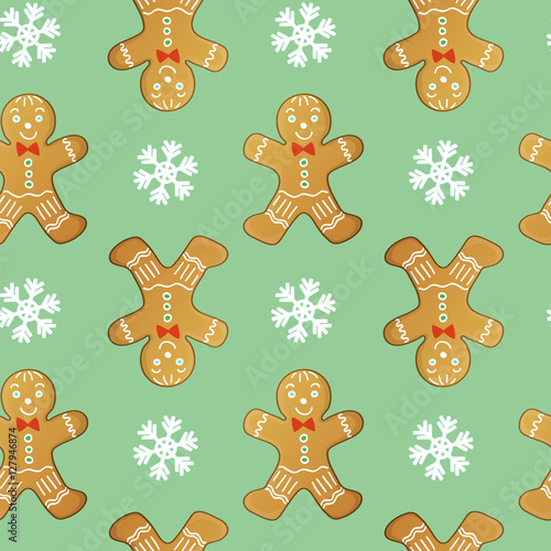 Cotton fabric gingerbread men seamless vector pattern