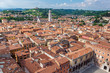 aerial view of city Verona with red roofs, Italy