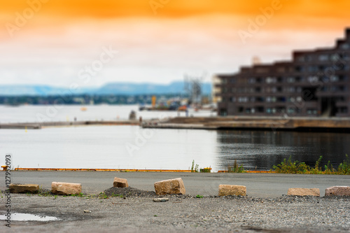 Oslo city quay sunset background Poster