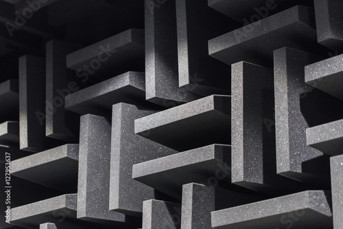 Background of studio sound dampening acoustical foam and LED light Canvas Print