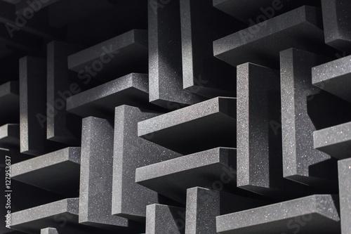 Valokuva  Background of studio sound dampening acoustical foam and LED light