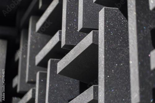 Fototapeta Background of studio sound dampening acoustical foam and LED light