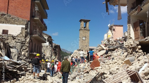 Canvas-taulu Amatrice on 24 Augusto 2016 after the earthquake