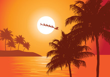 Santa's Ride. Santa Claus Rides Past The Full Moon Over A The Tropics To Deliver Christmas Gifts.