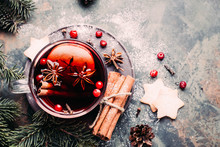 Mulled Wine With Cowberry, Cinnamon, Apple And Anise. Christmas Or New Year Drink. Top View And Copy Space.